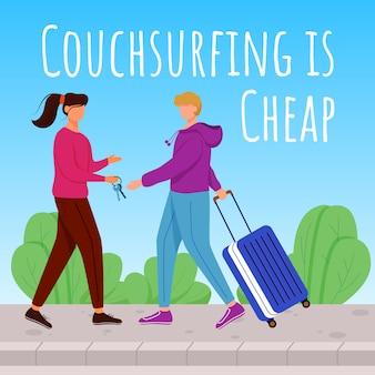 Couchsurfing - дешевый пост в социальных сетях. проживание бесплатно. шаблон рекламного баннера. усилитель социальных сетей, макет контента. рекламный плакат, печатная реклама с иллюстрациями