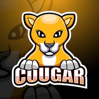 Cougar mascot esport illustration