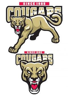 Cougar mascot set