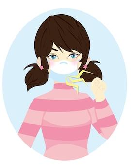 咳をしてマスクでくしゃみをします。呼吸器疾患を保護するためにブレスマスクを着用している女の子。健康と医療についてのイラスト。