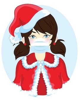 咳をしてマスクでくしゃみをします。クリスマスの日に保護するためにブレスマスクを身に着けている女の子。