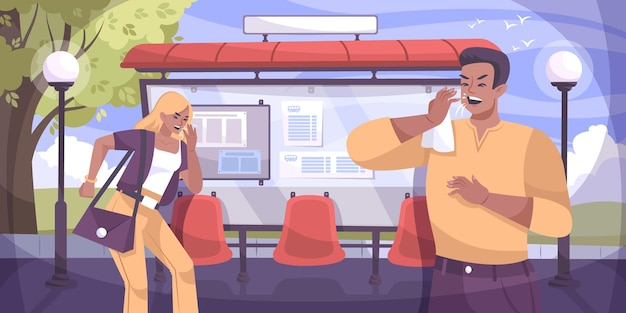 Composizione piatta nella tosse con paesaggio all'aperto con pensilina della fermata dell'autobus e illustrazione di personaggi maschili e femminili con tosse