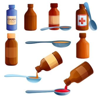 Cough syrup icons set, cartoon style