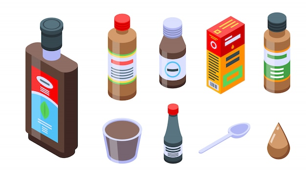 Cough syrup icons set, isometric style