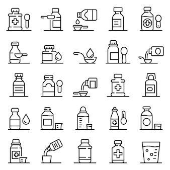 Cough syrup icons set, outline style