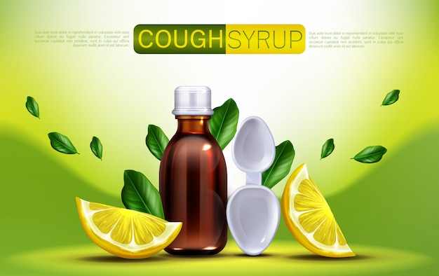 Cough syrup with lemon flavour banner