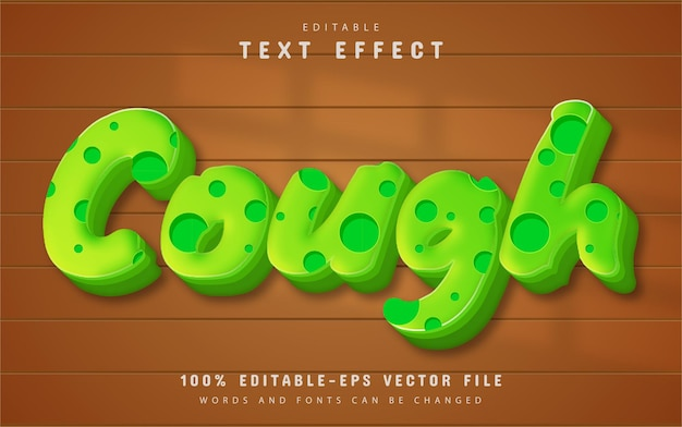 Cough text effect editable Premium Vector