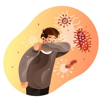 咳をする人は肘で口を覆います。コロナウイルスのパンデミックのコンセプト