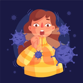 Coughing person illustration