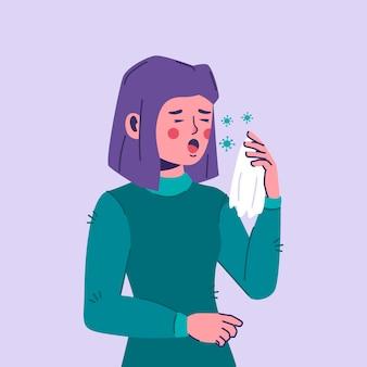 Illustrazione di persona tosse