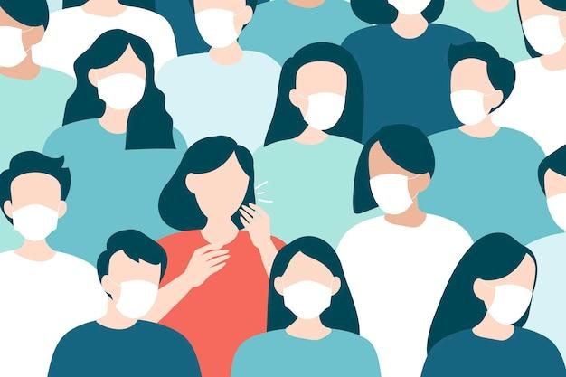 マスクされた群衆covid-19パターンで咳をする女性