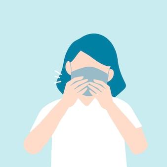 Donna che tossisce con una maschera di consapevolezza covid-19
