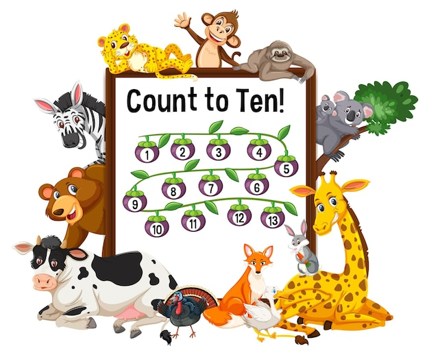 Count to 13 board with wild animals