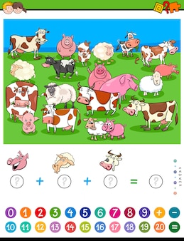 Count and add game for kids with farm animals
