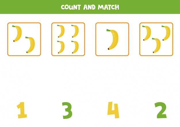 すべてのバナナを数え、数字と一致させます。子供のための教育数学ゲーム。未就学児のための印刷可能なワークシート。