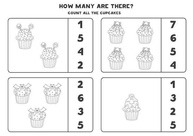 すべての黒と白のハロウィーンのカップケーキを数え、正解を丸で囲んでください。子供のための数学のゲーム。