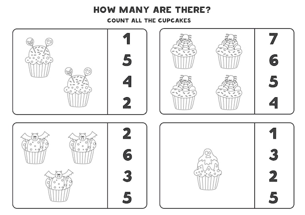 Count all black and white halloween cupcakes and circle the correct answers. math game for kids.