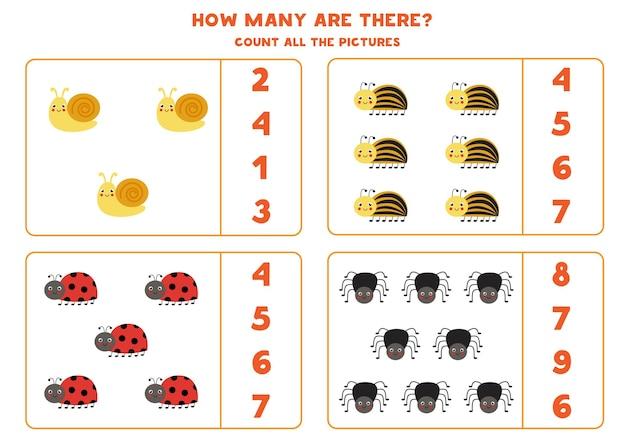 すべてのかわいい昆虫を数え、正解を丸で囲んでください。子供のための数学のゲーム。