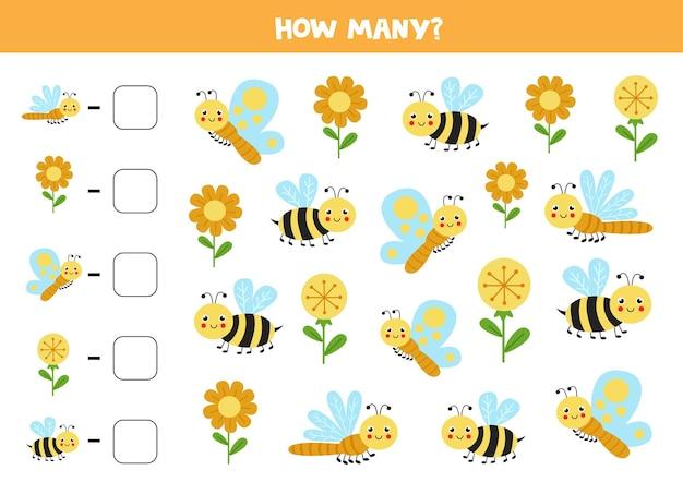 귀여운 곤충을 모두 세고 상자에 숫자를 씁니다. 아이들을위한 수학 게임.