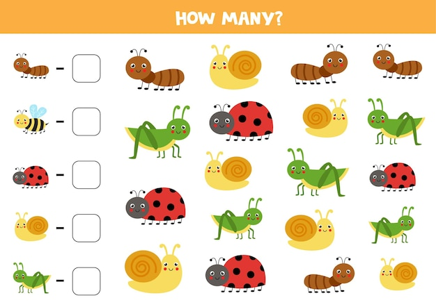 Count all cute insects and write the number into box. math game for kids.