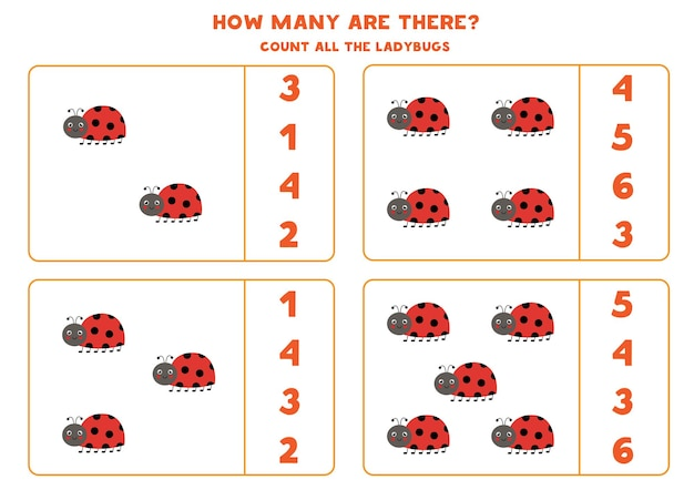 Count all cute ladybugs and circle the correct answers. math game for kids.