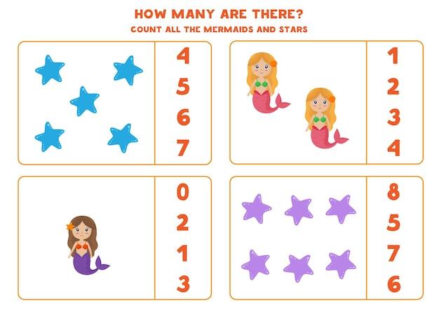 Подсчитайте всех симпатичных русалок и морских звезд и обведите правильные ответы. математическая игра для детей.