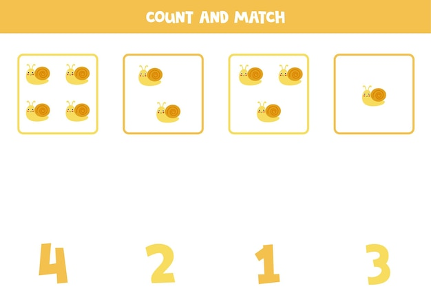 모든 귀여운 달팽이를 세고 올바른 숫자와 일치시킵니다. 아이들을위한 수학 게임.