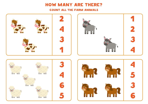 Count all farm animals and circle the correct answers. math game for kids.