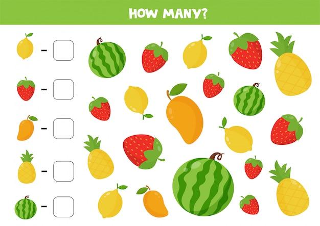 すべての果物と果実を数えます。子供のための教育数学ゲーム。印刷可能なワークシート。学習数。面白い活動ページ。