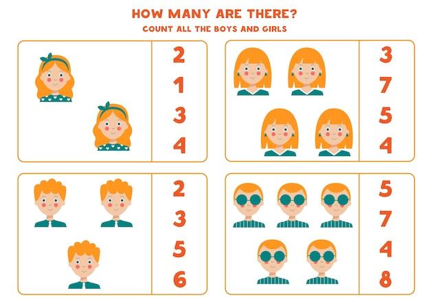 Подсчитайте всех девочек и мальчиков образовательная математическая игра для детей