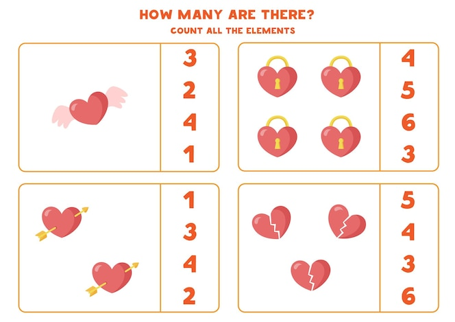 count all hearts. math game for kids. counting worksheet for preschoolers.