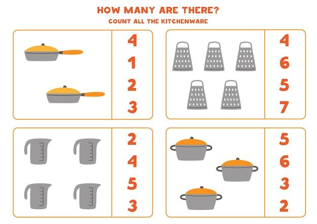 모든 주방 용품을 세고 상자에 숫자를 씁니다. 아이들을위한 수학 게임.