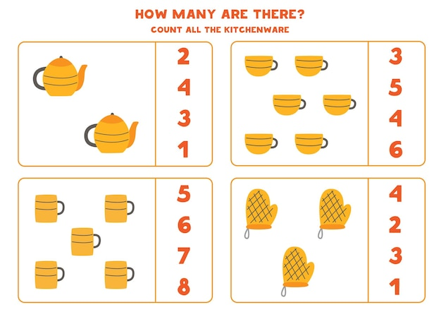 모든 주방 용품을 세고 정답에 동그라미를 치세요. 아이들을위한 수학 게임.