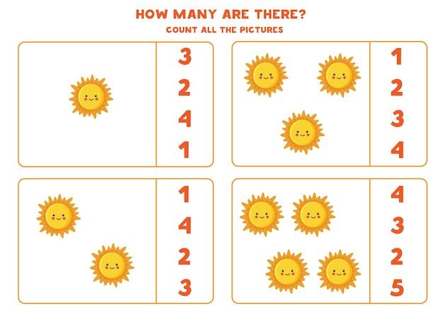 太陽の星のすべての写真を数え、正しい数をボックスに記入します。子供のためのカウントゲーム。