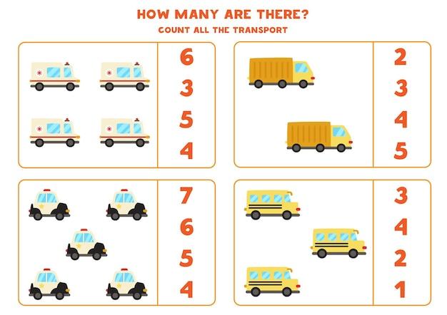 すべての輸送手段を数え、正しい答えに丸を付けてください。数学ゲーム。