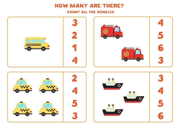 Count all transportation means and circle the right answer. math game.