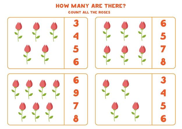 すべてのバレンタインのバラを数え、正しい答えに丸を付けてください。子供のための数学のゲーム。