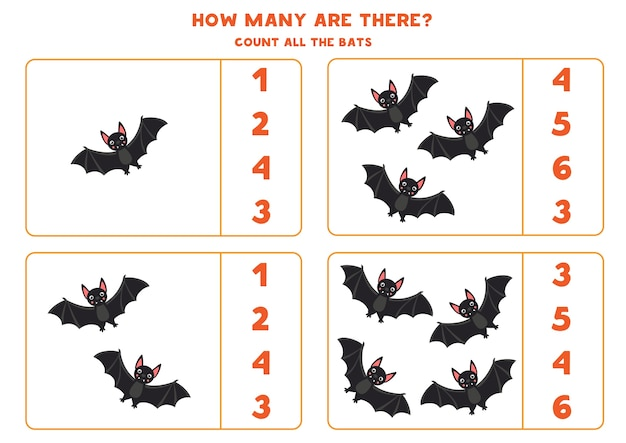 Count all vampire bats and circle right answer educational math game