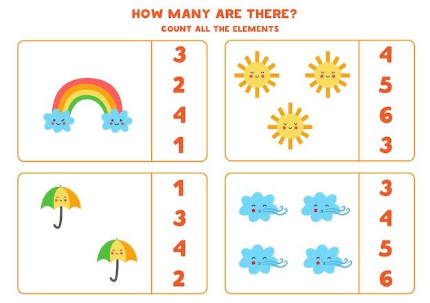 Подсчитайте все элементы погоды и обведите правильные ответы. математическая игра для детей.