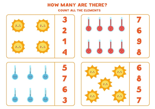 すべての気象要素を数え、正解を丸で囲んでください。子供のための数学のゲーム。