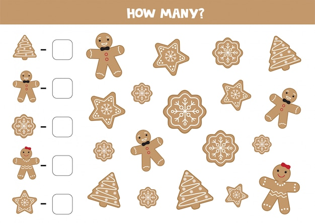 Count the amount of different gingerbread cookies.