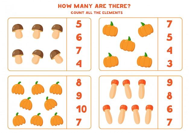 Подсчитайте количество всех тыкв и грибов.