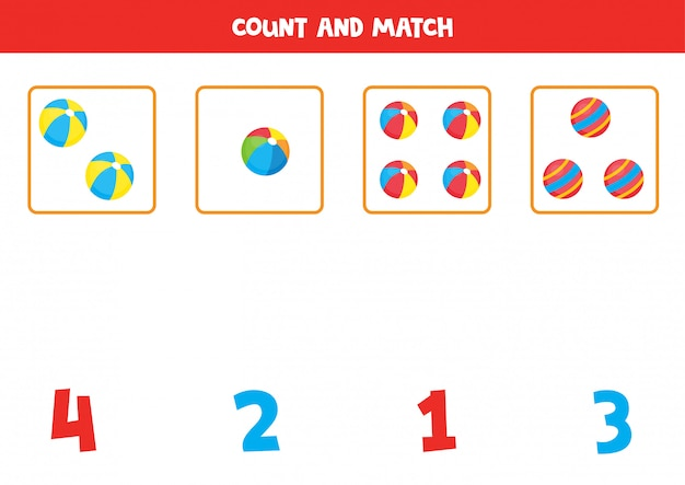 Count the amount of toy balls and match with the right numbers. educational math game for kids. learning numbers printable worksheet.