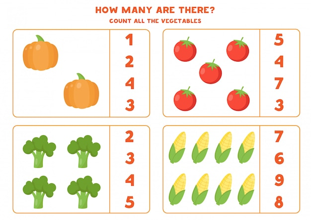 Count the amount of vegetables and circle the right answer.