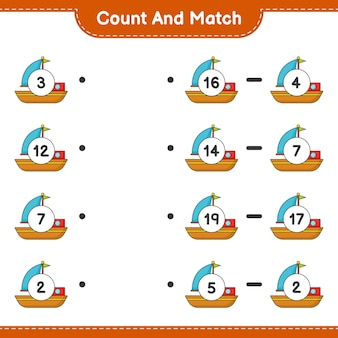 세고 일치하고 보트의 수를 세고 올바른 숫자와 일치시킵니다. 교육용 어린이 게임, 인쇄 가능한 워크시트