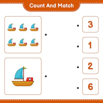 ボートの数を数えて一致させ、正しい数と一致させます
