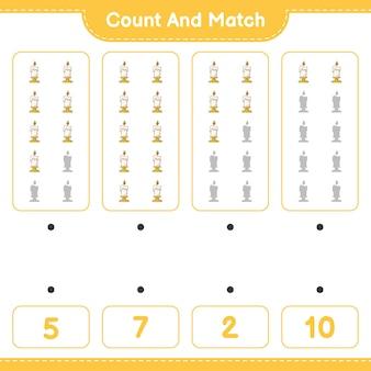 キャンドルの数を数えて一致させ、正しい数と一致させます