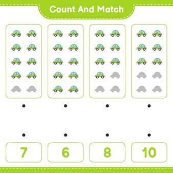 Подсчитайте и сопоставьте, подсчитайте количество автомобилей и сопоставьте правильные числа. развивающая детская игра, лист для печати