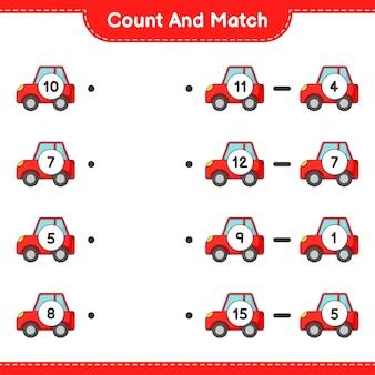세고 일치하고 자동차의 수를 세고 올바른 숫자와 일치시킵니다. 교육용 어린이 게임, 인쇄 가능한 워크시트