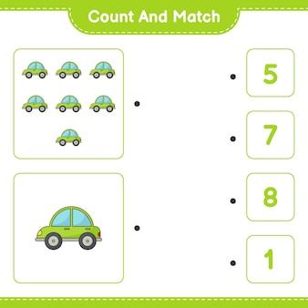 車の数を数え、数え、正しい数と一致する教育的な子供向けゲーム